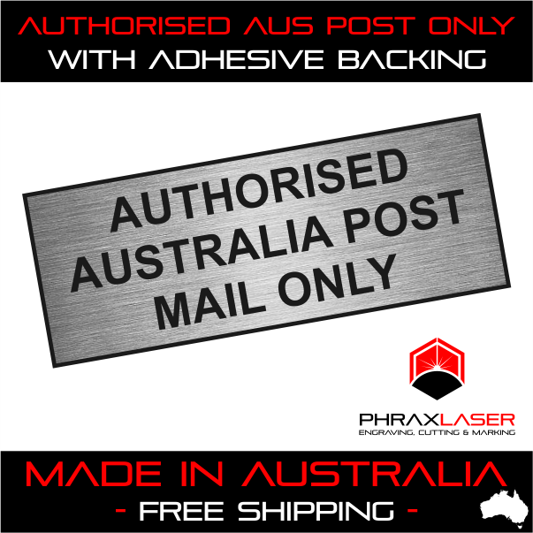PLAQUE w// Adhesive 80mm x 30mm LABEL AUTHORISED AUS POST ONLY GOLD SIGN